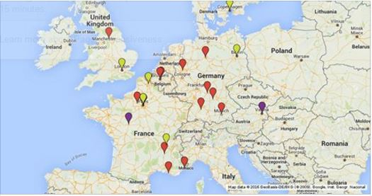 Map of Muslim terrorist attacks in Europe
